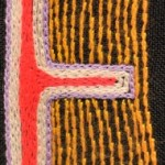 Fridge Magnet (small): Orange Stripe 'E'