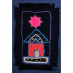 Greeting Card: African Hut under a Pink star