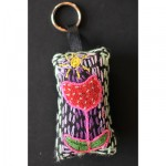 Keyring: Red Spotted Flower